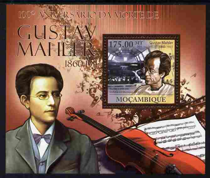 Mozambique 2011 Death Centenary of Gustav Mahler perf s/sheet unmounted mint, stamps on personalities, stamps on music, stamps on composers, stamps on mahler