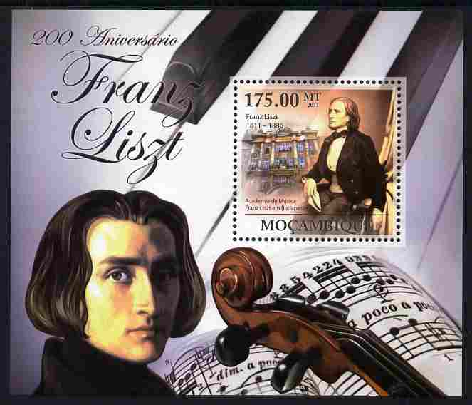 Mozambique 2011 200th Birth Anniversary of Franz Liszt perf s/sheet unmounted mint