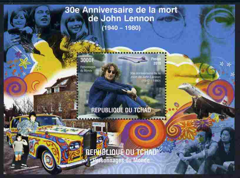 Chad 2011 30th Death Anniversary of John Lennon perf m/sheet unmounted mint. Note this item is privately produced and is offered purely on its thematic appeal