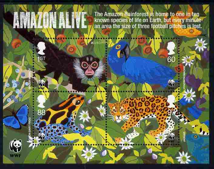 Great Britain 2011 WWF - The Amazon Rainforest perf sheetlet containing 4 values unmounted mint