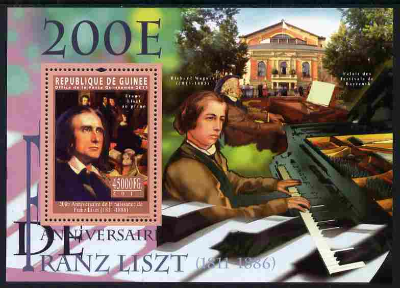 Guinea - Conakry 2011 200th Birth Anniversary of Franz Liszt perf s/sheet unmounted mint