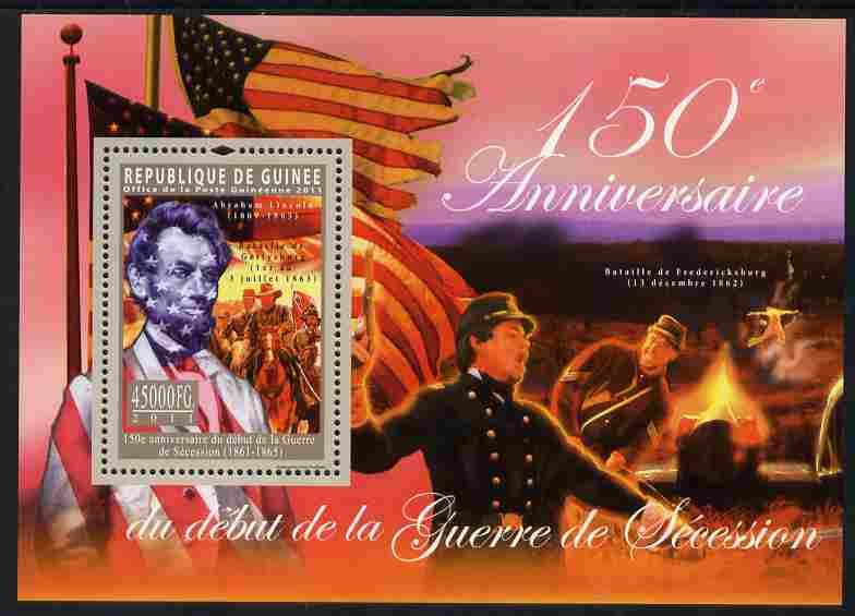 Guinea - Conakry 2011 150th Anniversary of American Civil War perf s/sheet unmounted mint