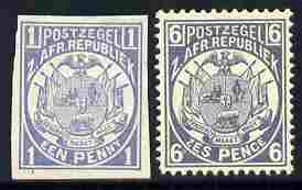 Transvaal 1885 Vurtheim imperf colour trial of 1d on ungummed paper in pale dull-blue similar to issued 6d which is included