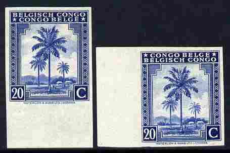 Belgian Congo 1942 Oil Palms 20c ultramarine two imperf marginal singles with bi-lingual inscription reversed, mounted mint
