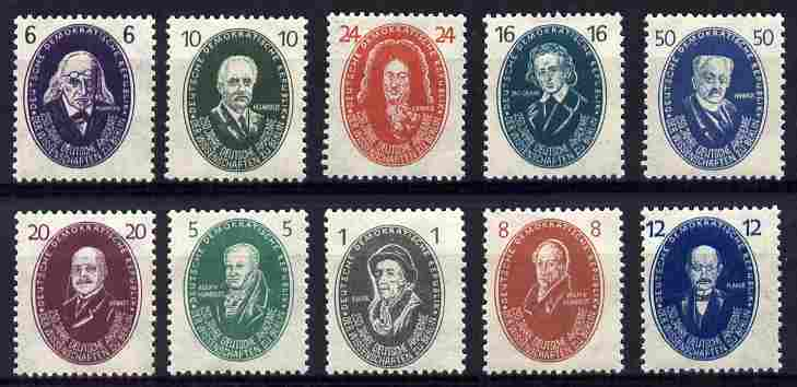 Germany - East 1950 Academy of Science set of 10 mounted mint SG E20-29