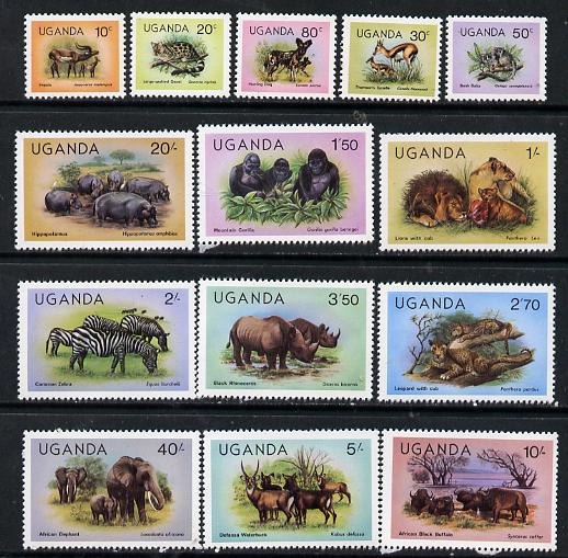 Uganda 1979 Wildlife def set complete (without imprint date) set of 14 unmounted mint, SG 303-16*