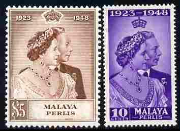 Malaya - Perlis 1948 KG6 Royal Silver Wedding perf set of 2 mounted mint, SG 1-2