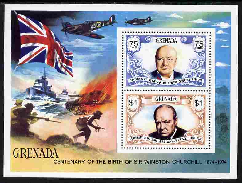 Grenada 1974 Birth Centenary of Sir Winston Churchill m/sheet unmounted mint, SG MS 639