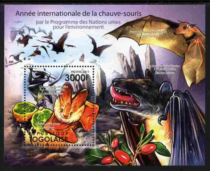 Togo 2011 International Year of Bats perf s/sheet unmounted mint