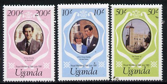 Uganda 1981 Royal Wedding redrawn set of 3, SG 345-47 unmounted mint*
