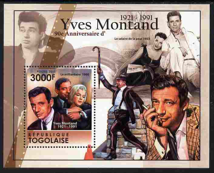 Togo 2011 90th Birth Anniversary of Yves Montand perf s/sheet unmounted mint