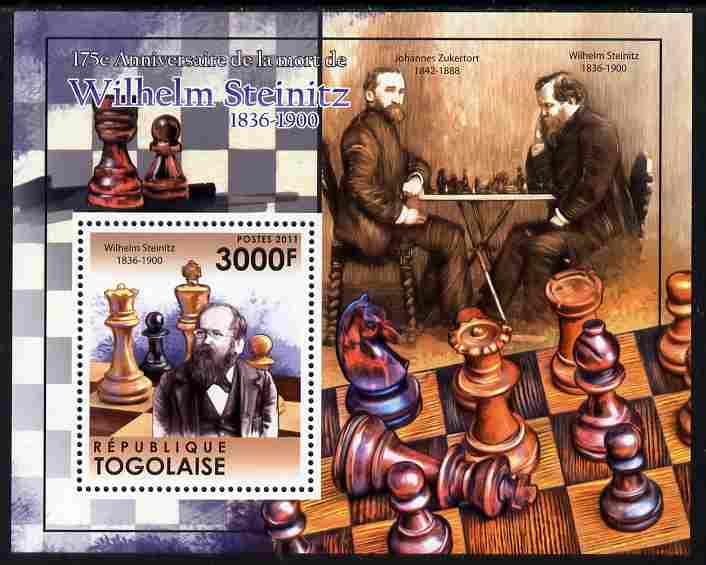 Togo 2011 175th Death Anniversary of Wilhelm Steinitz (chess) perf s/sheet unmounted mint