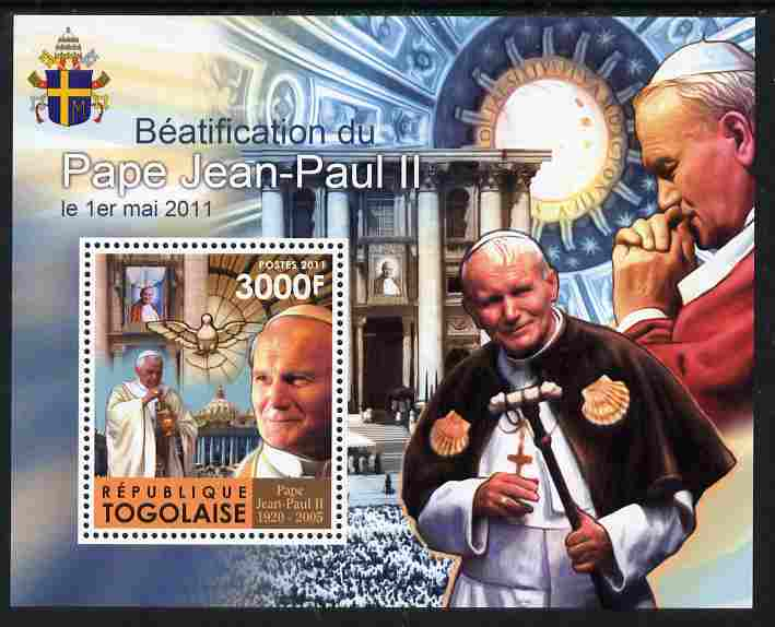 Togo 2011 Beatification of Pope John Paul II perf s/sheet unmounted mint