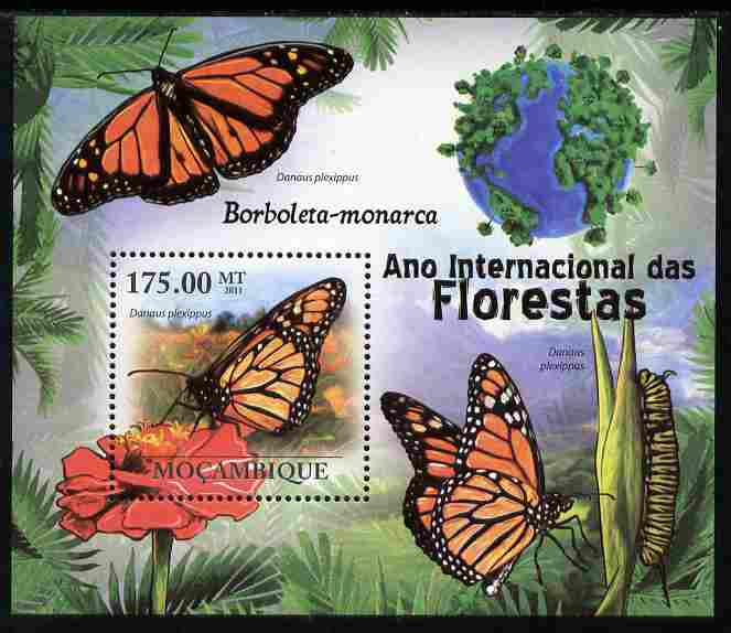 Mozambique 2011 International Year of the Forest - Butterflies perf s/sheet unmounted mint