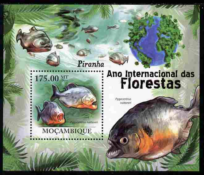 Mozambique 2011 International Year of the Forest - Piranhas perf s/sheet unmounted mint