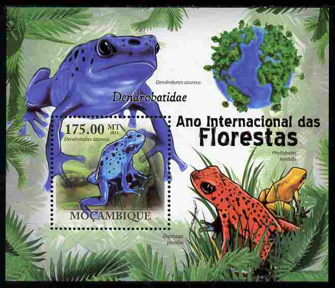 Mozambique 2011 International Year of the Forest - Poison Dart Frogs perf s/sheet unmounted mint