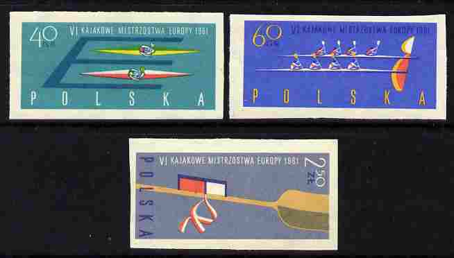 Poland 1961 European Canoeing Championships imperf set of 3 unmounted mint, SG 1246-8