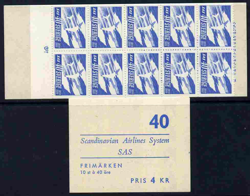 Booklet - Sweden 1961 Tenth Anniversary of Scandinavian Airlines 4k booklet complete, SG SB139