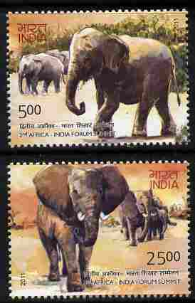 India 2011 Elephants perf set of 2 values unmounted mint