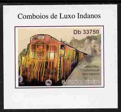 St Thomas & Prince Islands 2011 Indian Luxury Trains #2 imperf individual deluxe sheet unmounted mint. Note this item is privately produced and is offered purely on its thematic appeal
