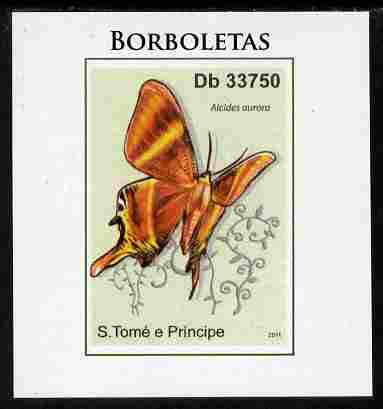 St Thomas & Prince Islands 2011 Butterflies #1 imperf individual deluxe sheet unmounted mint. Note this item is privately produced and is offered purely on its thematic appeal