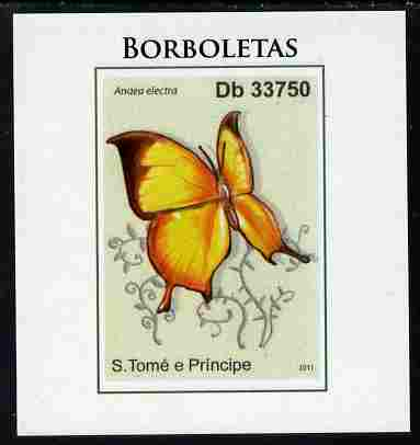 St Thomas & Prince Islands 2011 Butterflies #3 imperf individual deluxe sheet unmounted mint. Note this item is privately produced and is offered purely on its thematic appeal