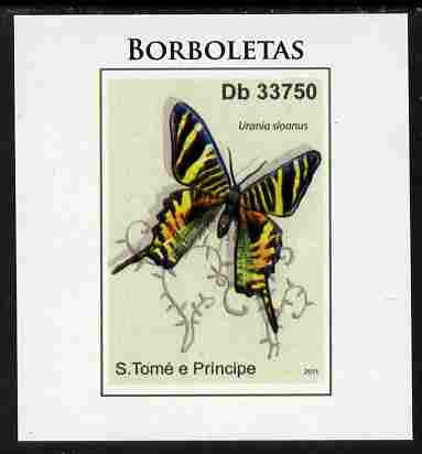 St Thomas & Prince Islands 2011 Butterflies #4 imperf individual deluxe sheet unmounted mint. Note this item is privately produced and is offered purely on its thematic appeal
