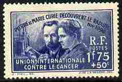France 1938 International Anti-Cancer Fund 1f75 + 50c unmounted mint, SG 617