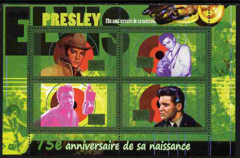 Guinea - Conakry 2010 75th Birth Anniversary of Elvis Presley perf sheetlet containig 4 values unmounted mint Michel 7967-70