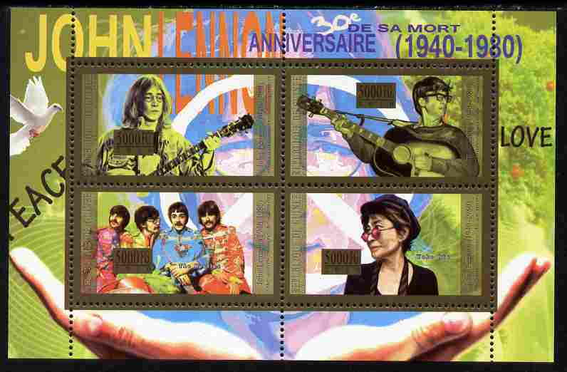 Guinea - Conakry 2010 Anniversary of John Lennon perf sheetlet containig 4 values unmounted mint Michel 7972-75, stamps on personalities, stamps on music, stamps on films, stamps on rock, stamps on beatles, stamps on pops, stamps on lennon