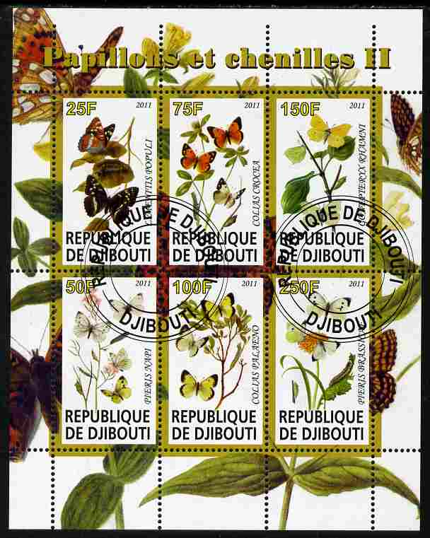 Djibouti 2011 Butterflies & Caterpillars #2 perf sheetlet containing 6 values fine cto used