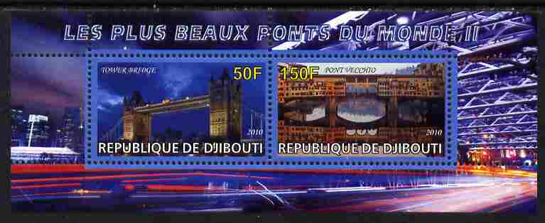 Djibouti 2011 Bridges of the World #2 perf sheetlet containing 2 values unmounted mint