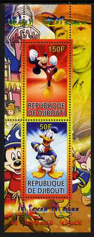 Djibouti 2011 Walt Disney - Mickey Mouse & Donald perf sheetlet containing 2 values unmounted mint