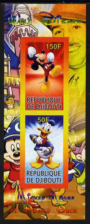 Djibouti 2011 Walt Disney - Mickey Mouse & Donald imperf sheetlet containing 2 values unmounted mint