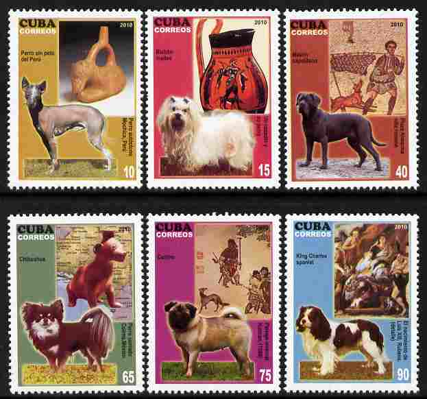 Cuba 2010 Dogs & Classical Art perf set of 6 unmounted mint