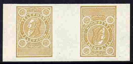 Belgium 1891 Telephone tete-beche interpaneau imperf proof pair undenominated in ochre on ungummed paper
