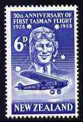 New Zealand 1958 30th Anniversary of First Air Crossing of Tasman Sea 6d unmounted mint, SG 766