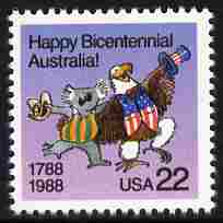 United States & Australia 1988 Joint Issue - Bicentenary of Australian Settlement 22c unmounted mint, SG 2332, stamps on eagles, stamps on americana, stamps on bears, stamps on