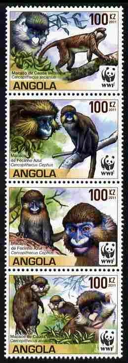 Angola 2011 WWF - Endangered Monkeys perf se-tenant strip of 4 unmounted mint