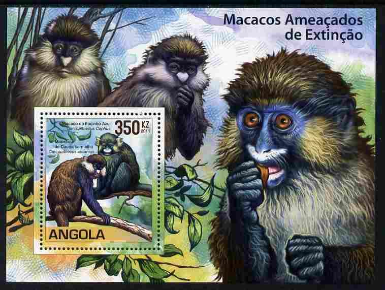 Angola 2011 WWF - Endangered Monkeys perf m/sheet unmounted mint