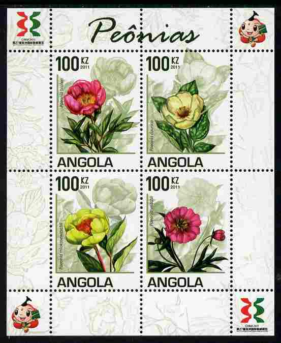 Angola 2011 Flowers - Peonies perf sheetlet containing set of 4 with Asian Stamp Exhibition logo in margin unmounted mint