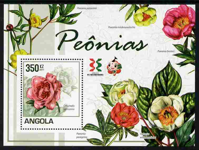 Angola 2011 Flowers - Peonies perf m/sheet with Asian Stamp Exhibition logo in margin unmounted mint