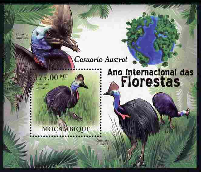 Mozambique 2011 International Year of the Forest - Cassowary perf m/sheet unmounted mint, Michel BL415