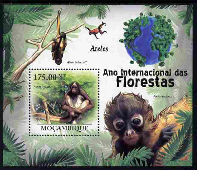 Mozambique 2011 International Year of the Forest - Spider Monkeys perf m/sheet unmounted mint, Michel BL431