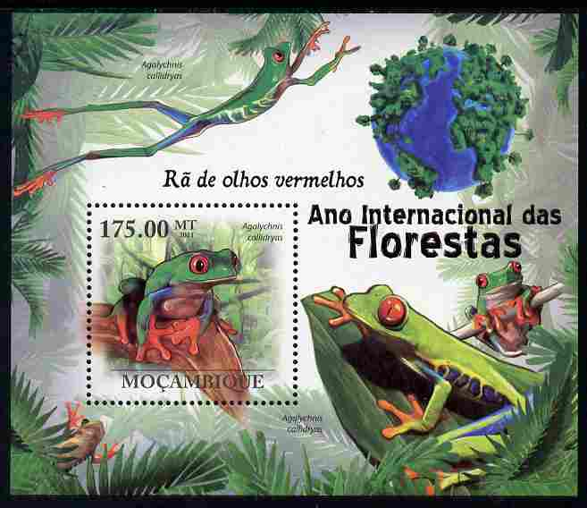 Mozambique 2011 International Year of the Forest - Red-eyed Tree Frog perf m/sheet unmounted mint, Michel BL408