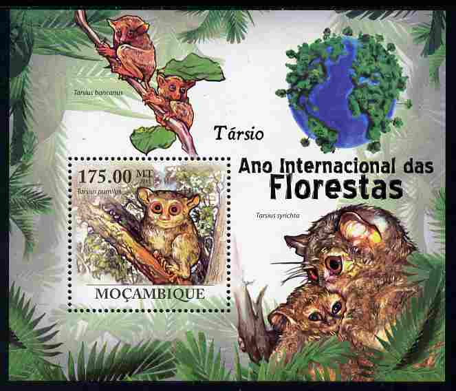 Mozambique 2011 International Year of the Forest - Tarsiers perf m/sheet unmounted mint, Michel BL430