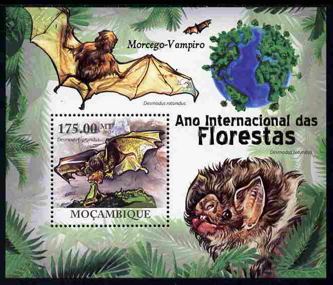 Mozambique 2011 International Year of the Forest - Vampire Bats perf m/sheet unmounted mint, Michel BL422
