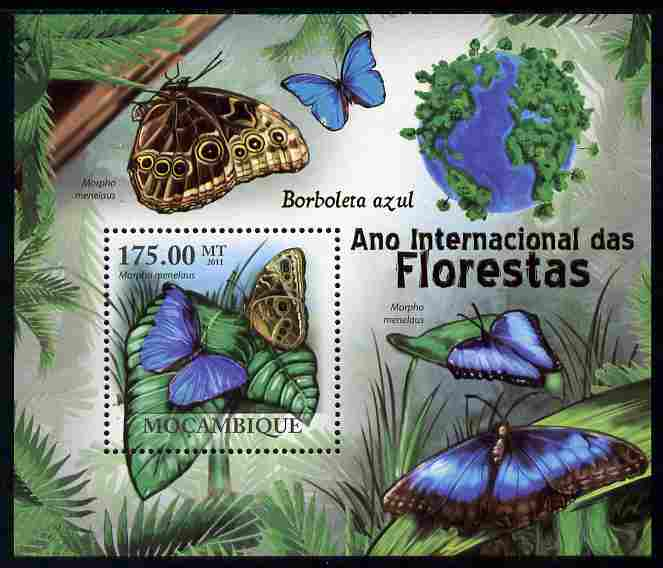 Mozambique 2011 International Year of the Forest - Butterflies perf m/sheet unmounted mint, Michel BL404, stamps on trees, stamps on butterflies