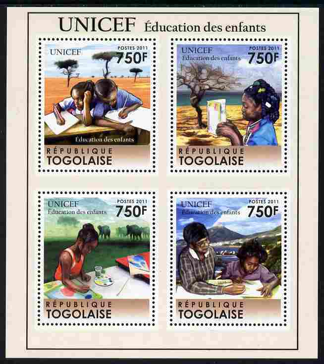 Togo 2011 UNICEF - Education for Children perf sheetlet containing 4 values unmounted mint