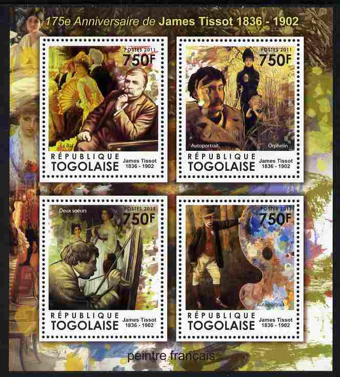 Togo 2011 175th Birth Anniversary of James Tissot perf sheetlet containing 4 values unmounted mint